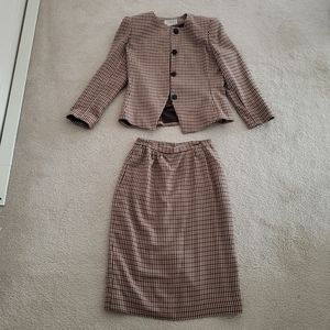Vintage Checkered Skirt Suit
